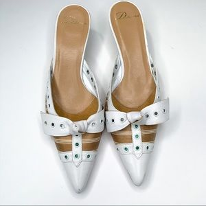 Delman Pointed Toe Kitten Heel Bow Slides 7.5